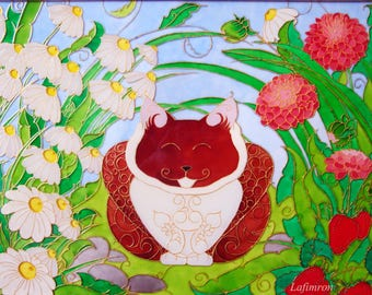 Baby shower gift Nursery decor Bedroom decor Stained glass Funny cat lovers Nursery wall art Glass art Cat art Baby girl nursery Kids room