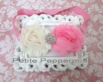 Baby headband, baby flower headband, pink baby head band,infant, toddler hair bow,shabby flower baby headband,girl headband,newborn headband