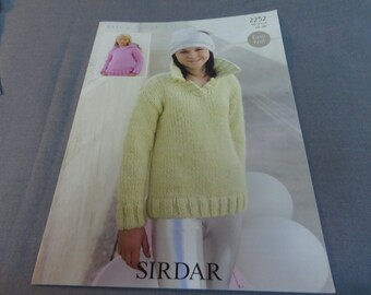 """Knitting Pattern, Easy Knit Sirdar Sweater Young Lady or Small Woman 26"""" - 36"""" Big Softie 2252"""