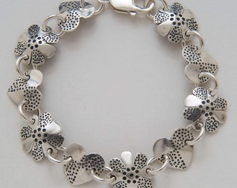 Heart Dots Flowers Bracelet made from Vintage Silver American Dimes