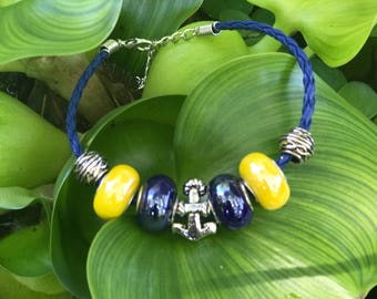 Blue and Gold Anchor Charm