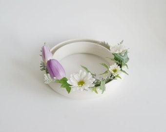 Birthday Gift for Mom Mothers Day Gift White Ceramic Vase Pansy Ring Minimalist Porcelain Ceramic Vase White Vase Made to Order