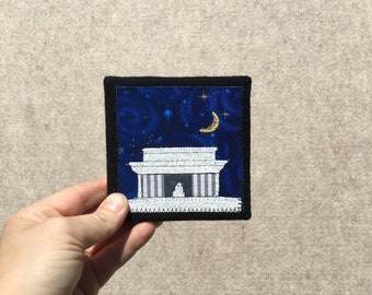 Mini Lincoln Memorial at Midnight, 4x4 inches, original sewn fabric artwork, handmade, freehand appliqué, ready to hang canvas