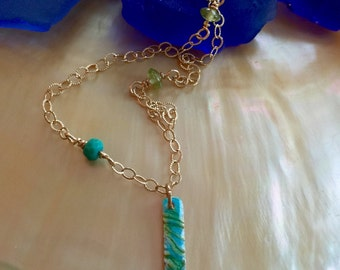 Turquoise Gold Enamel Necklace, Minimalist, Geometric, Gold Bar Necklace, Elegant Delicate Gold Layering Necklace