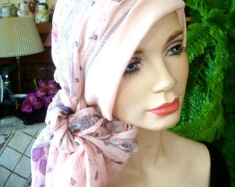 womens hat chemo hat with scarf pale peach headcover chemo gift soft hat