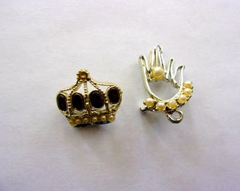 Two 60's Brooches Hand & Crown