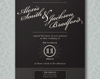 Vintage Typography Script Wedding Invitation DIY Printable Wedding Invitation OR Full Service Printing Black and White Wedding Invite