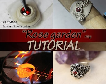 Rose garden TUTORIAL, metal clay, metal clay tutorial, ring tutorial, roses tutorial, silver jewelry, art clay tutorial, pmc, setting, PDF