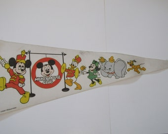 Mickey Mouse Club Souvenir Pennant with Disney Characters