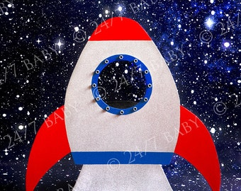 Digital Studio Backdrop Red Rocket Ship Space Scene Newborn Baby Photography