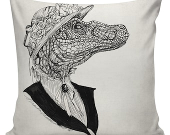 Dinosaur with Hat Cushion Pillow Cover cotton canvas throw pillow 18 inch square #UE0352 Viscountess Velociraptor Urban Elliott