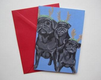 Black Pug Christmas Card, Black Pug Reindeer Card, Pug Holiday Card by Amber Maki
