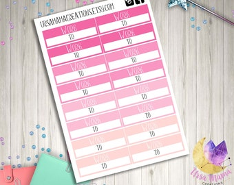 Pink Blush Tones Work Schedule Hours Quarter Box Functional Planner Stickers