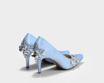 Rubena Something Blue Floral Encrusted Custom Made Pumps, Powder Blue Satin  Pumps, Something Blue Satin Wedding Shoes, Blue Wedding Heels