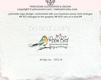 1252-10 Robin logo, bird logo, logo branding, business branding, logo design, whimsical logo, watermark, photography branding, bird art