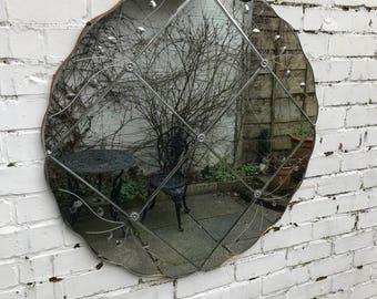 Beautiful Large Round Art Deco Mirror - Rare Vintage Mirror.