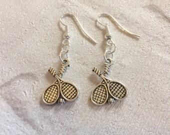Tennis Earrings, Silver Earrings,  Tennis Jewellery, Racket Earrings, Sports Earrings, Sports Jewelry, Sterling Silver, Tennis Gifts.