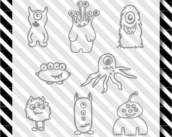 Monsters svg cut file - Monsters vector file - Monsters cut files - cutting machine files - svg cut files - dxf cut files - Monsters dxf