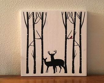 Deer in Birch Trees