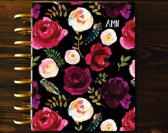 Floral Planner COVER, Black Planner Cover, Laminated Covers, Mambi Cover, Discbound Covers, Happy Planner, Recollections Cover, Mambi Covers