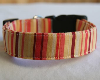 Dog Collar Brown- Coral- Orange Stripe on Golden Yellow- Adjustable Collar Small to Large Breed Dog-5/8- 1 inch 1.5 -2 inch width