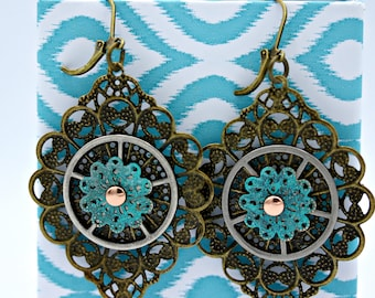 Patinaed Brass Steampunk Industrial Gear Earrings