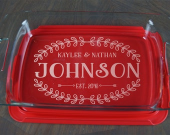 Personalized Casserole Dish Pyrex Baking Dish Engraved Name Christmas Present Mother's Day Wedding Gift A 37b