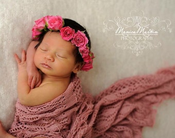 Flower fresh roses Crown Haircrown Fresh Baby Roses Baby Photo Prop Headband Pink Gold Plated Wire and Satin Ties for closure.