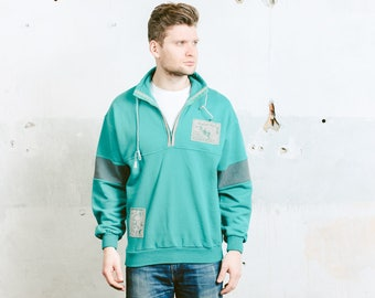 Mens Green Sweatshirt . Vintage 90s Anorak Smock Jacket Bold Sports Sweater Smock 90s Hip Hop Skater . size Medium M
