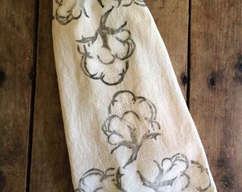 Cotton Boll Flour Sack Towel - Tea Towel - Hand Block Printed - Unbleached 100% Cotton - Eco Friendly Ink - Optional Draw String Packaging