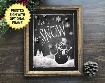 Farmhouse Christmas Decor, Printed Let it Snow Christmas chalkboard art print, snowman chalkboard print, Christmas decorations, chalk art