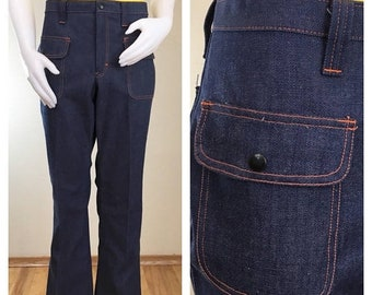 30% Off Sale 70s h.i.s. Dark Rinse Denim Flare Jeans with Orange Stitching, Hip Pockets, Women's Size XL to 1X, Plus Size