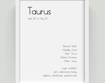 Taurus Star Sign Taurus Art Print Taurus Print Taurus Painting Taurus Zodiac Taurus Zodiac Sign Wall Art Wall Decor Above Bed Decor Signs