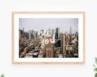 New York Printable Wall Art White Brush Script Photo Instant Download Wall Decor Modern Wall Art Printable Art Large Poster Digital