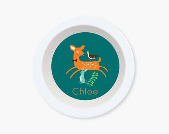 BOWL - Personalized Mod DEER Fawn bowl for kids