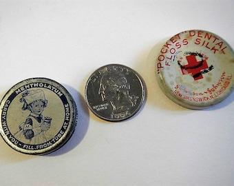 Vintage Mentholatum or Johnson & Johnson Pocket Dental Floss Tin- CHOICE- collectible, medical,first aid, dentist, nurse, pharmacy,drugstore