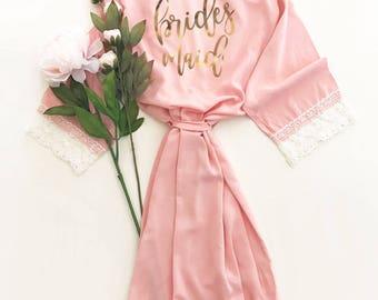 Pink Bridesmaid Robe   Pink Robes For Bridesmaids   Pink Lace Robe   Blush Pink Robe Bridesmaid Gift Ideas Lace Bridesmaid Robes (EB3184BPW)