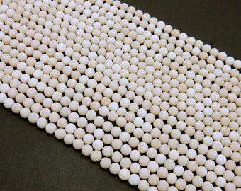 River Stone Fossil Jasper Matte Beads - 6mm- ONE STRAND - (S65B11-02)