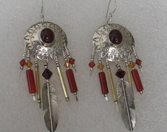 SALE Vintage Sterling Carnelian Native American/Southwestern  Earrings