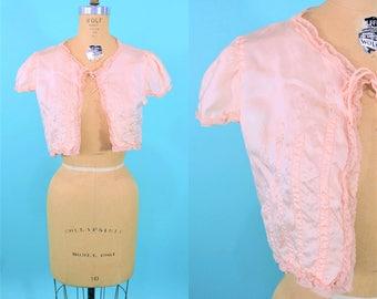 1940s bed jacket   pink satin short bed jacket   vintage 40s lingerie