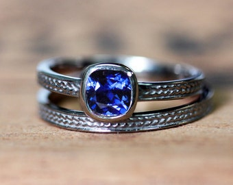 Blue sapphire engagement ring set, sapphire solitaire ring, braided engagement ring, white gold wedding ring set, farm wedding wheat ring