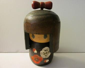 """4 1/2"""", Usaburo Style Kokeshi of Sweet Brunette Girl Doll"""