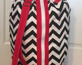 Monogrammed Laundry Duffel Bag, Red, Black & White Chevron, Laundry Bag, Laundry Bag for College, Hanging Laundry Bag, Laundry Hamper