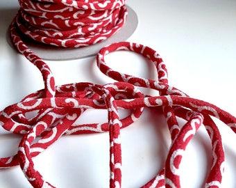 cords Japanese 4.5 mm, Chirimen, karakusa pattern, red (C2021)