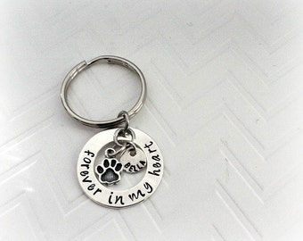 Pet Memorial Keychain - Memorial GIfts for Loss of Pet - Hand Stamped gift - Personalized Keychain - Pet Sympathy Gifts - Personalized