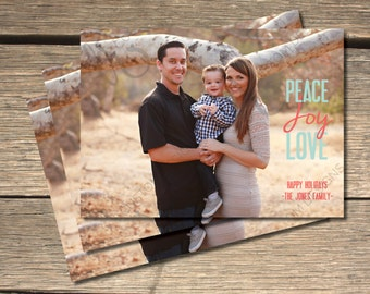 Peace Love and Joy Holiday Photo Card- 5x7
