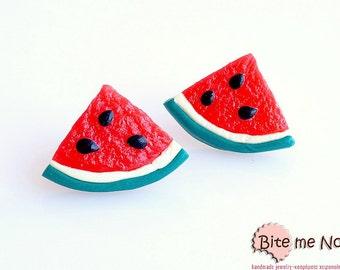 Watermelons Slices 1/4 Stud Earrings, Summer Earrings, Watermelon Studs, Polymer Clay Food, Fruit Earrings, Foodie gift, Faux Food Earrings