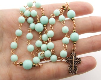Anglican Rosary - Handmade Mint Green Czech Glass & Copper Anglican Prayer Beads - Protestant Prayer Beads - Anglican Gift - Christian Gift