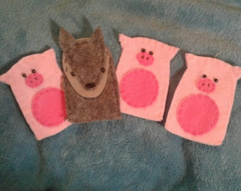 Three Little Pigs And the Big Bad Wolf set of 4 finger puppets.