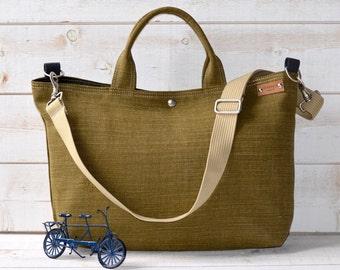 Green Linen tote bag, Carry all, Diaper bag, Messenger bag, Work bag, Leather strap , Travel bag, Zipper and 5 Pockets,Cross body